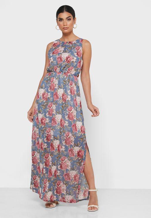 فستان بياقة رسن وطبعات ازهار
