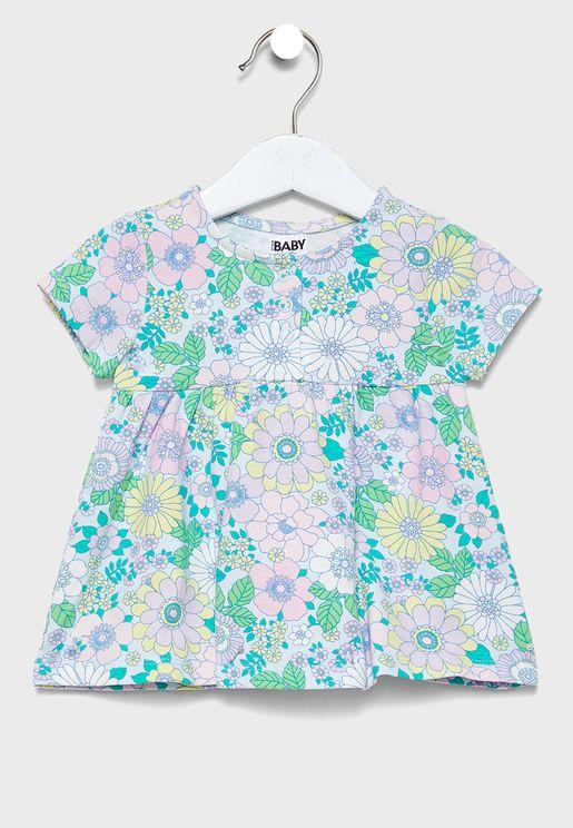 فستان بطباعة زهور للبيبي