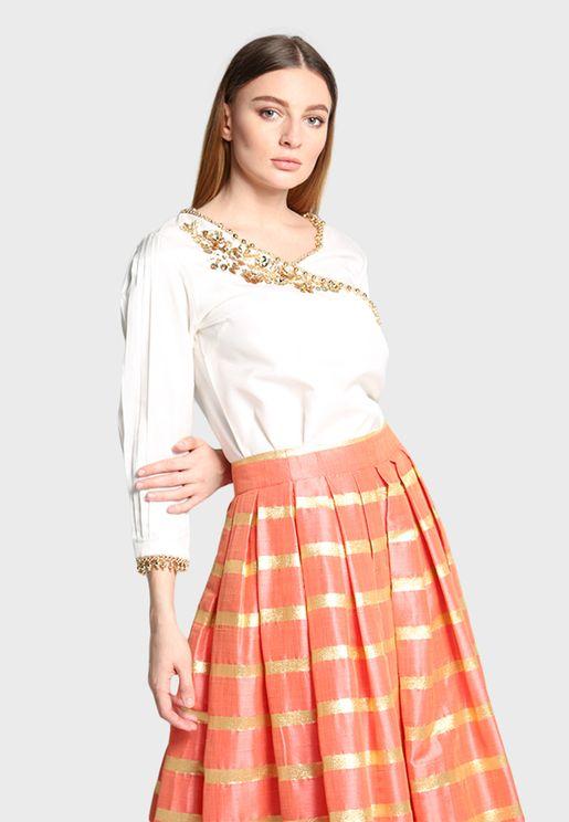 Embroidery Detail Shirt & Skirt Set