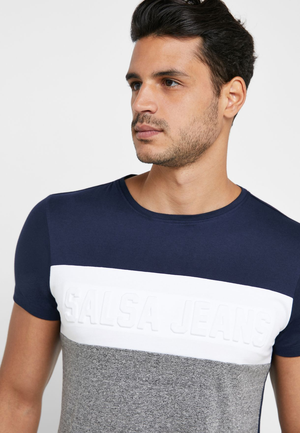 Color Block Slim Fit Crew Neck T-Shirt