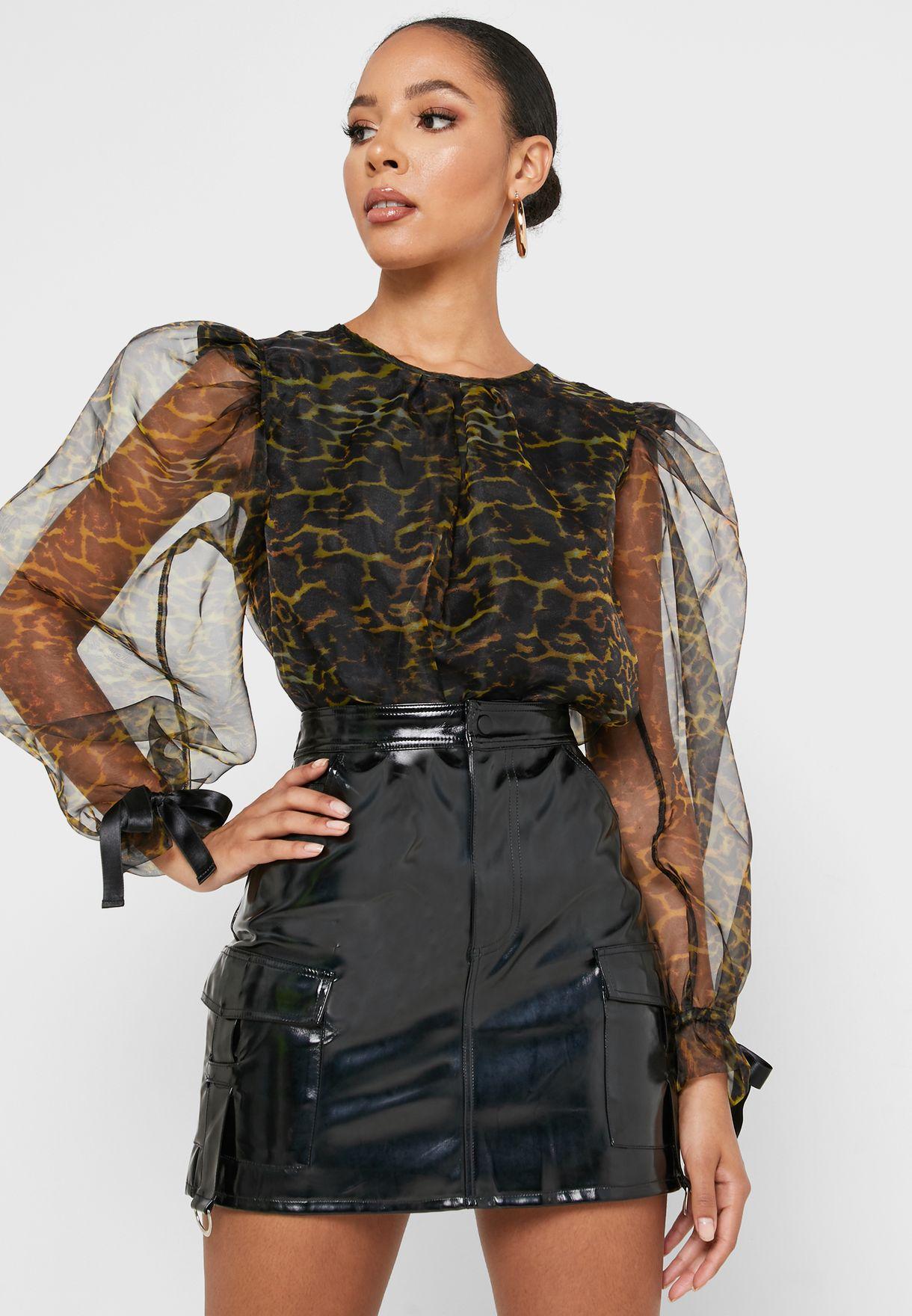 Leopard Print Sheer Sleeve Top