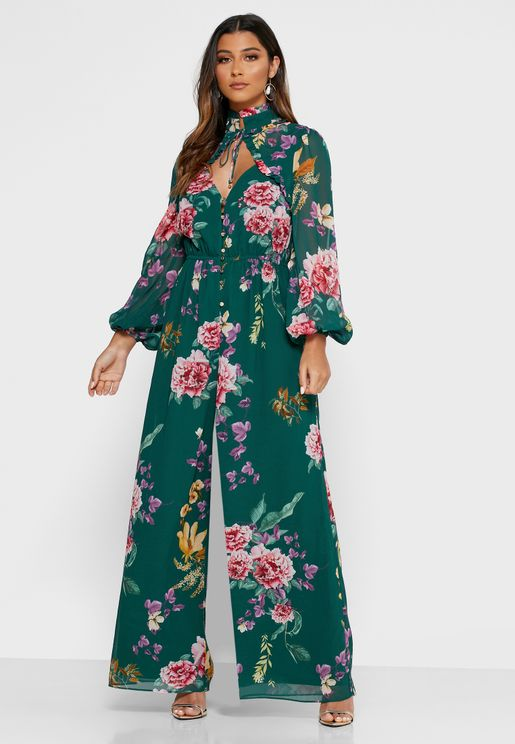 About Us Floral Print Wide Leg Jumpsuit
