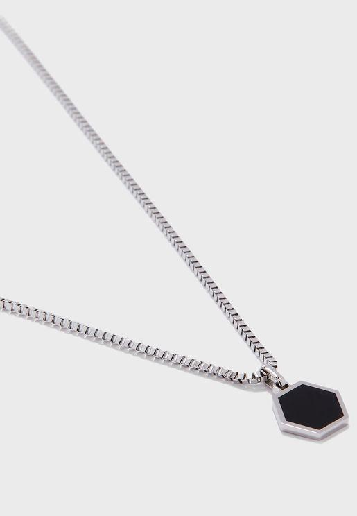 Hexagonal Enamel Necklace