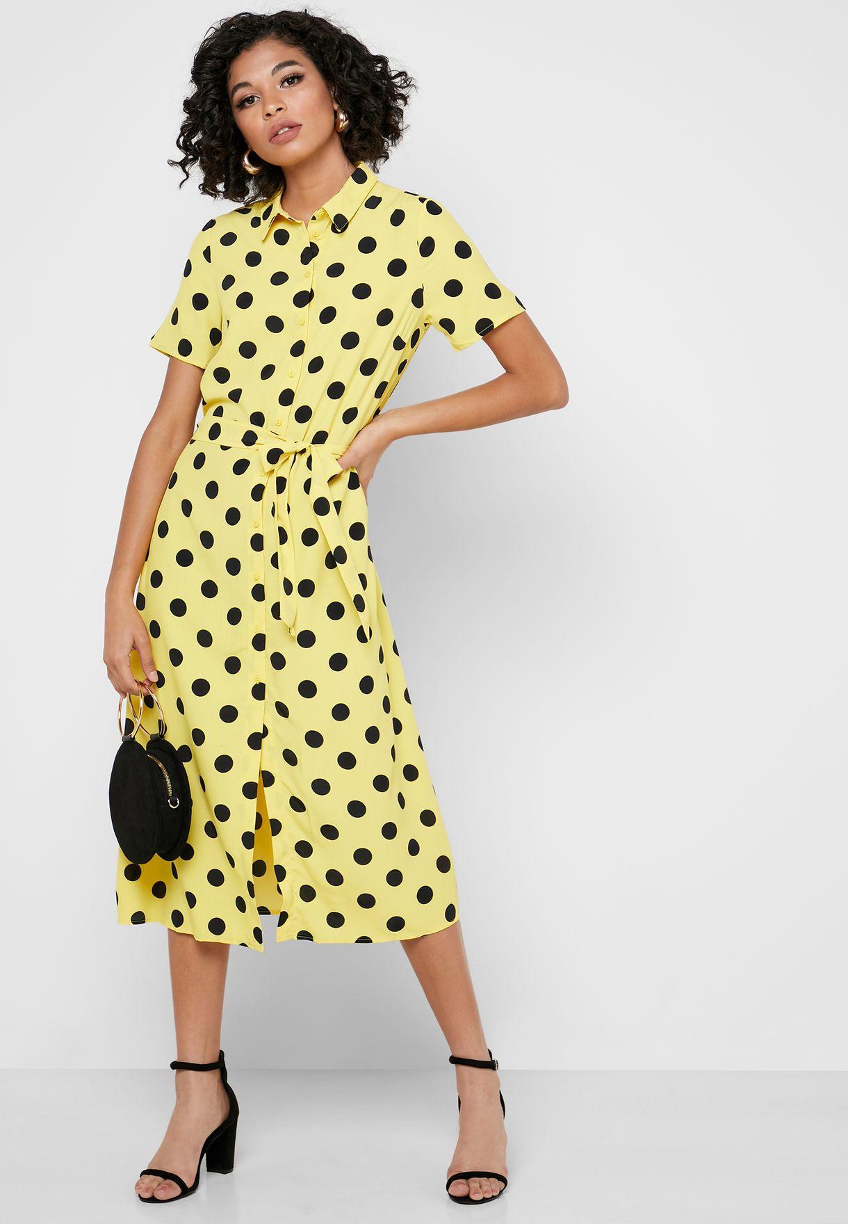 Tie Waist Button Down Polka Dot Dress