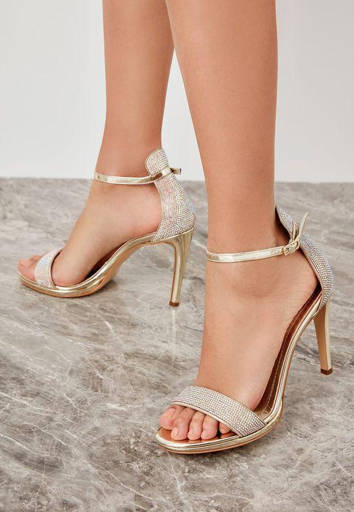 Glitter Strap Sandal - Gold