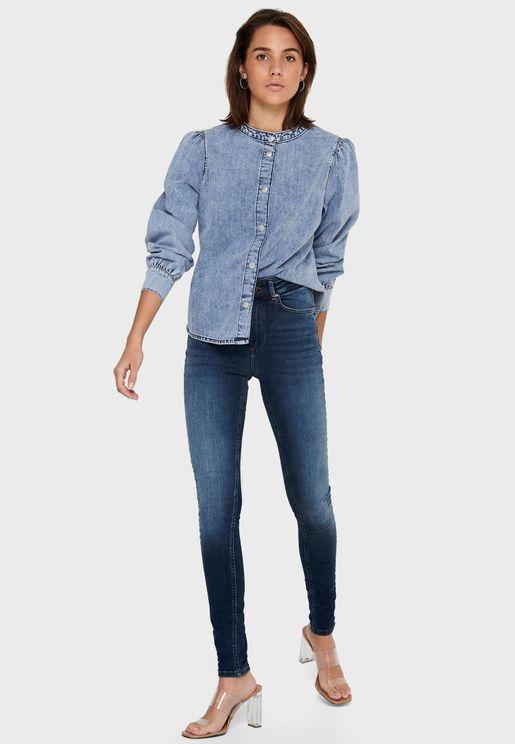 فستان جينز باكمام منفوشة