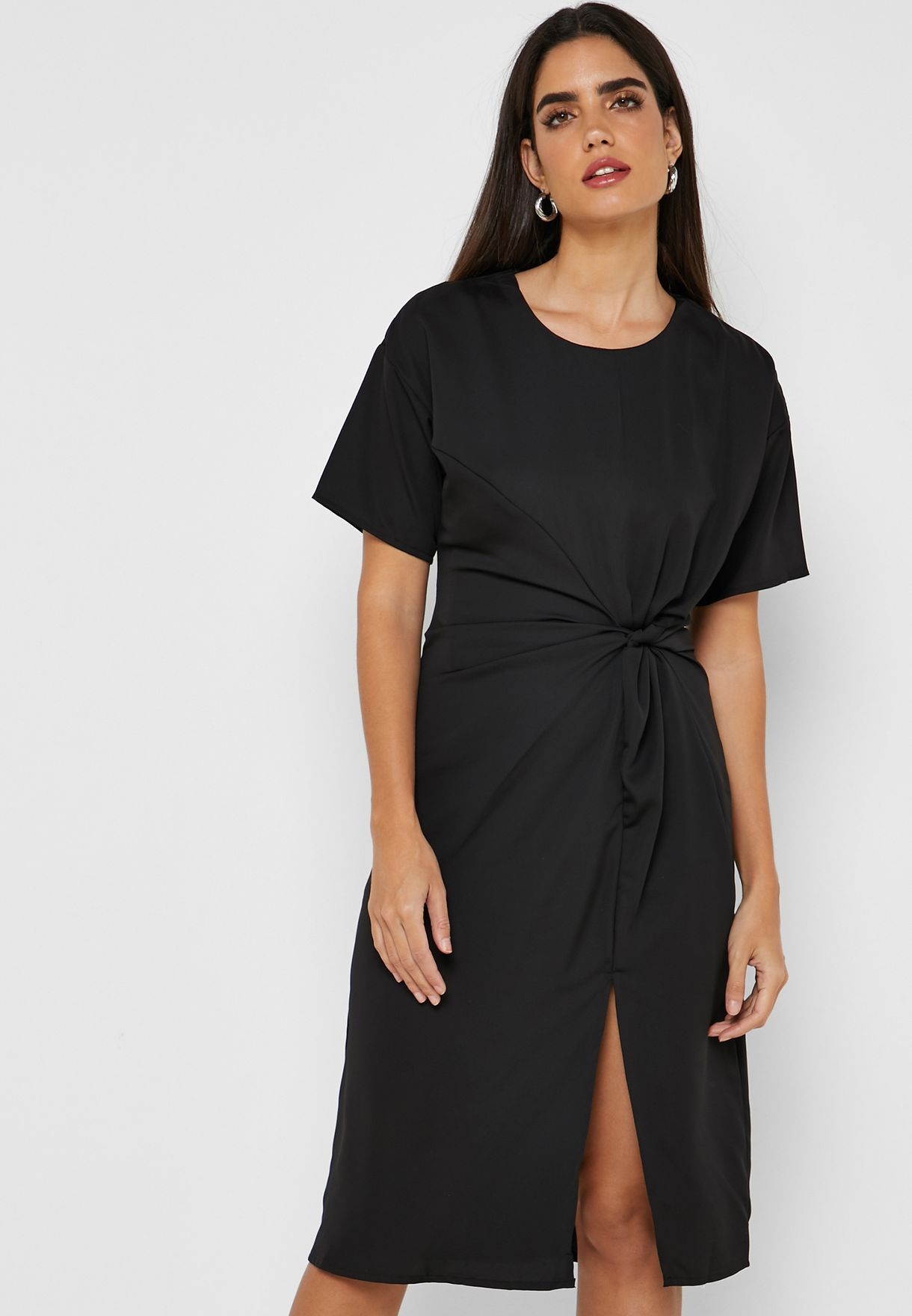 Twisted Side Midi Dress