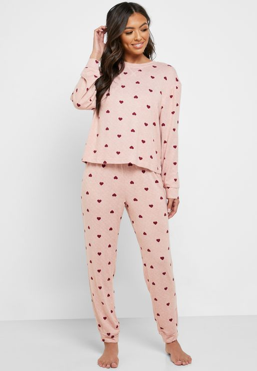 Heart Printed T-Shirt & Pyjama Set