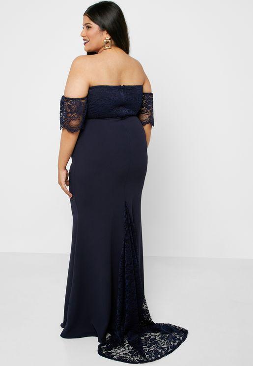 Lace Sleeve Bardot Bodycon Dress