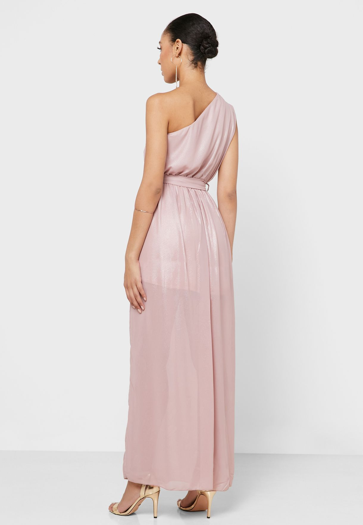 One Shoulder Self Tie  Maxi Dress