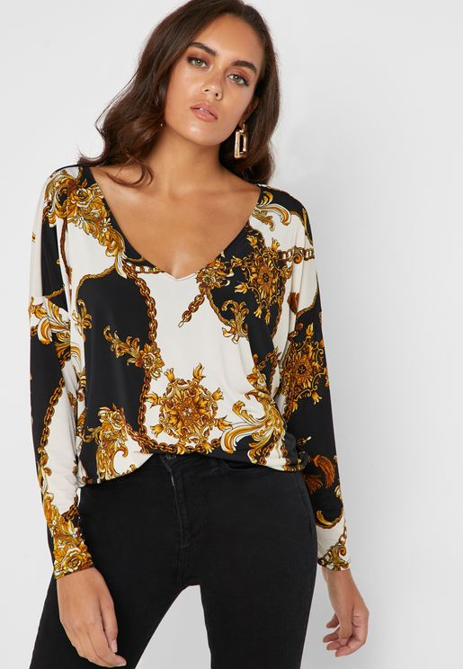 Chain Print V Neck Top