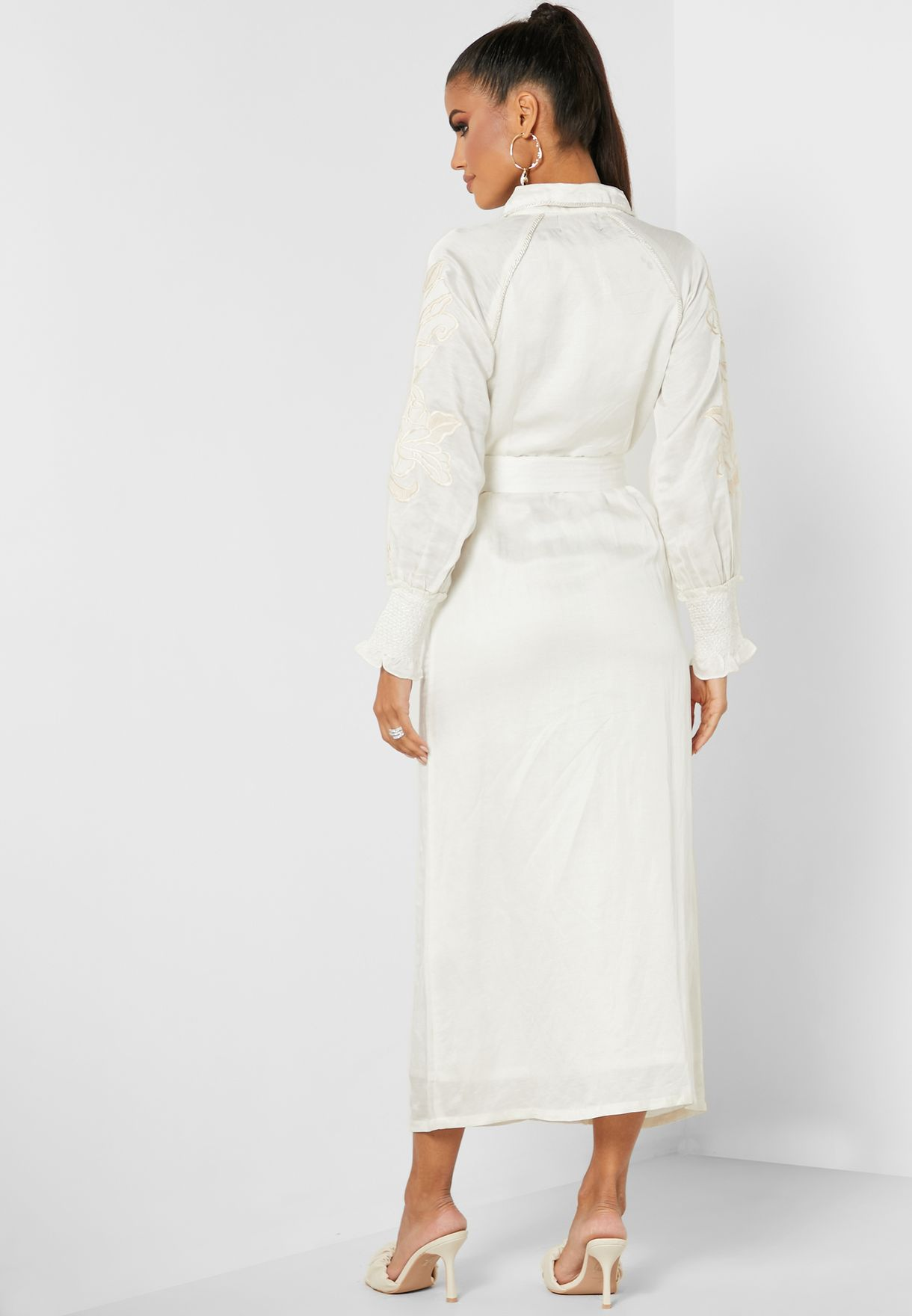 Embroidered Belted Collar Dress