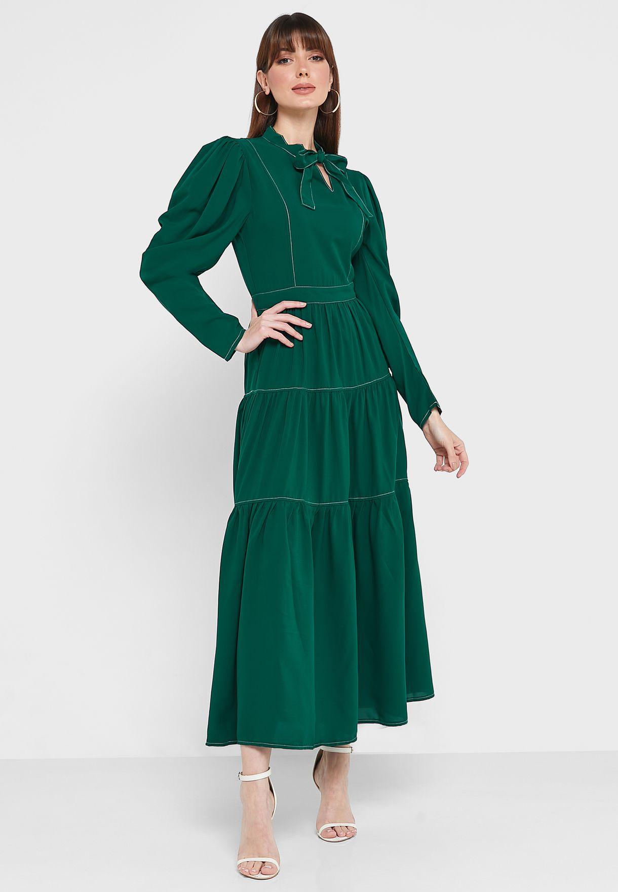 فستان ميدي باكمام بالون