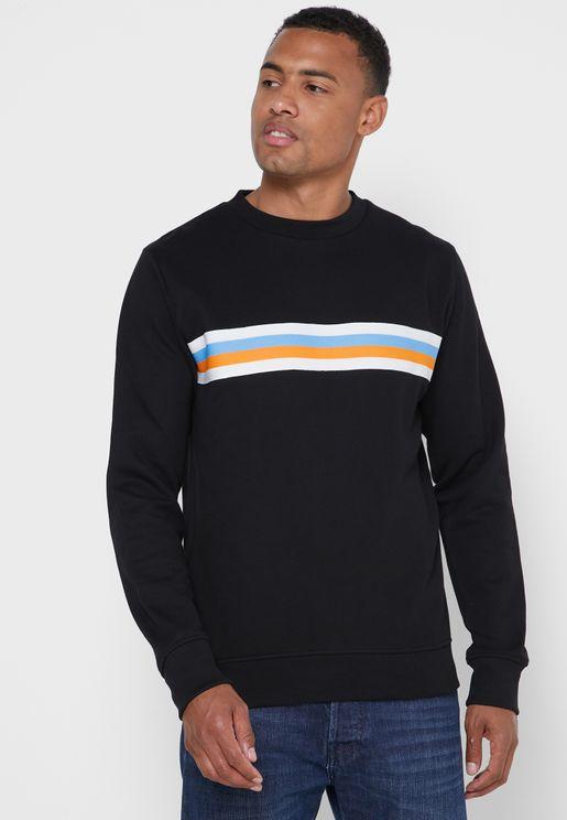 Striped Panel Sweatshirt