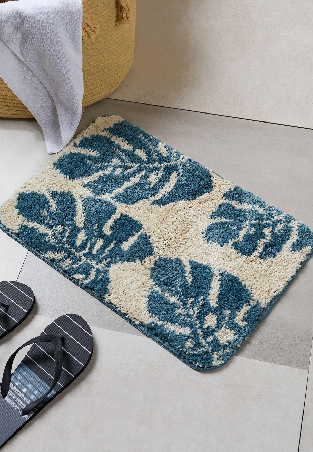 Leaf Print Bath Mat