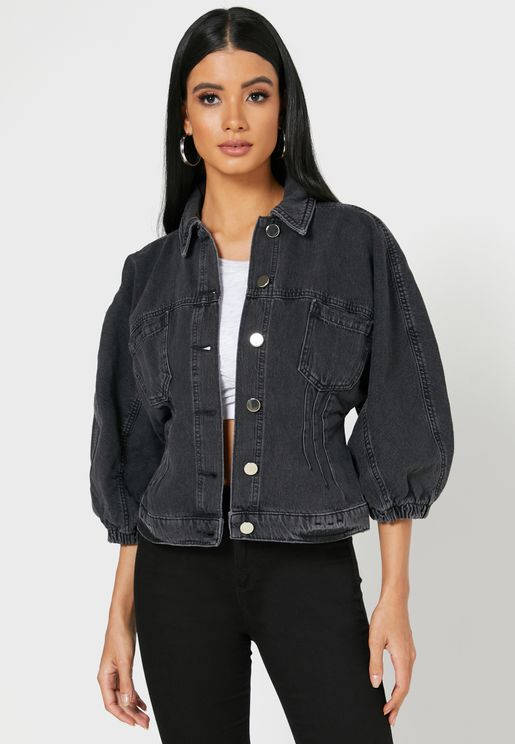 Cinched Waist Denim Jacket