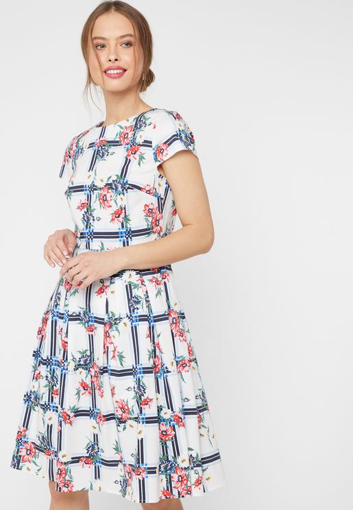 Checked Floral Print Cut Out Belted Dress