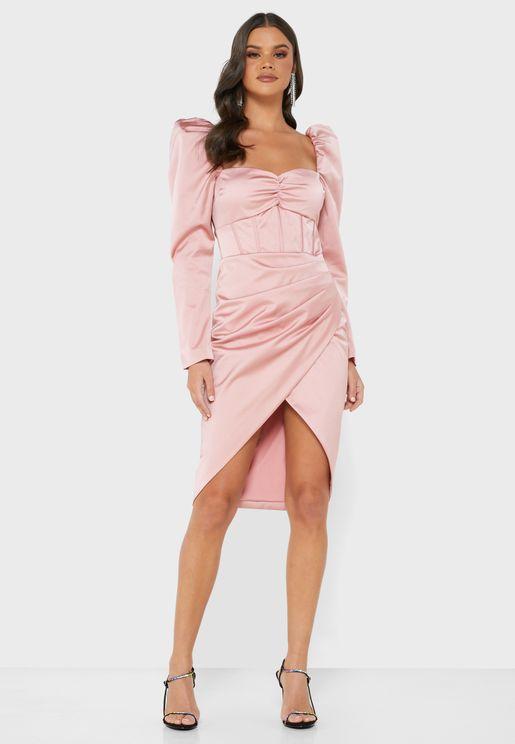 Puff Sleeve Square Neck Dress