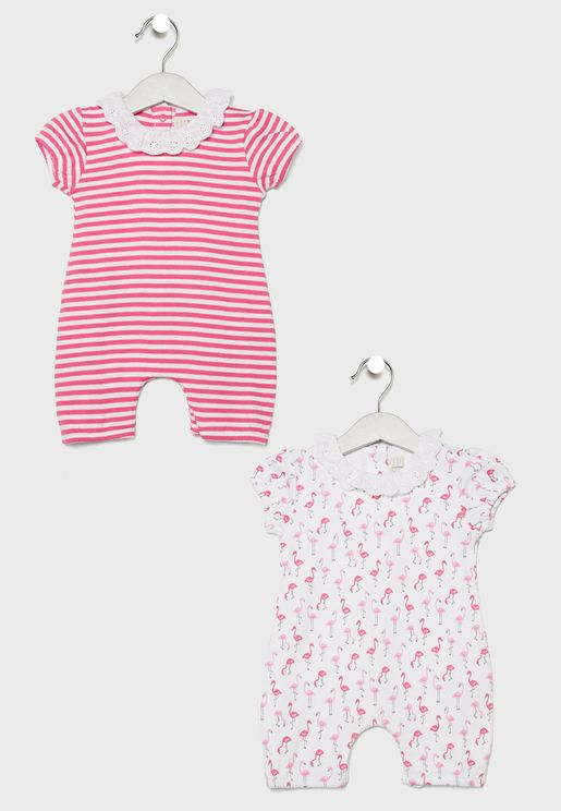 Infant 2 Pack Flamingo Rompers
