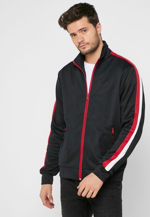 8559c5a825 Striped Sleeve Track Jacket