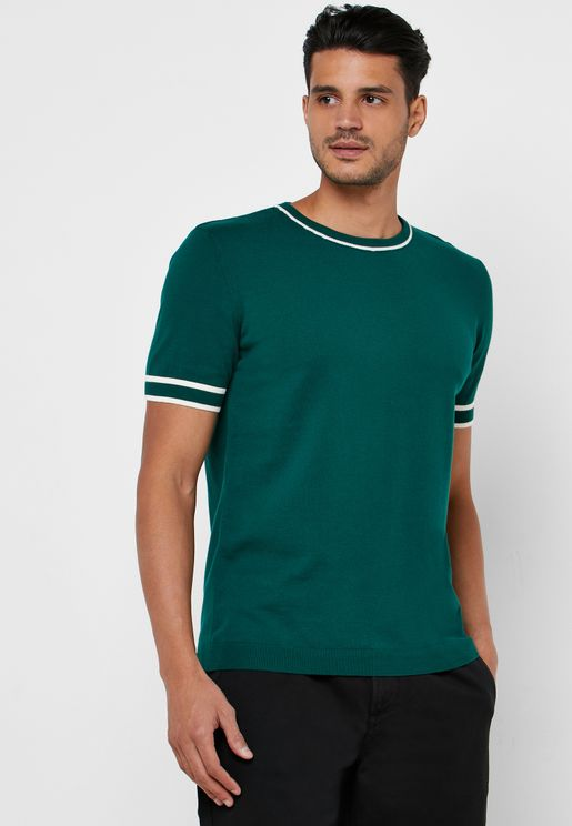 Contrast Edge Crew Neck Knitted T-Shirt