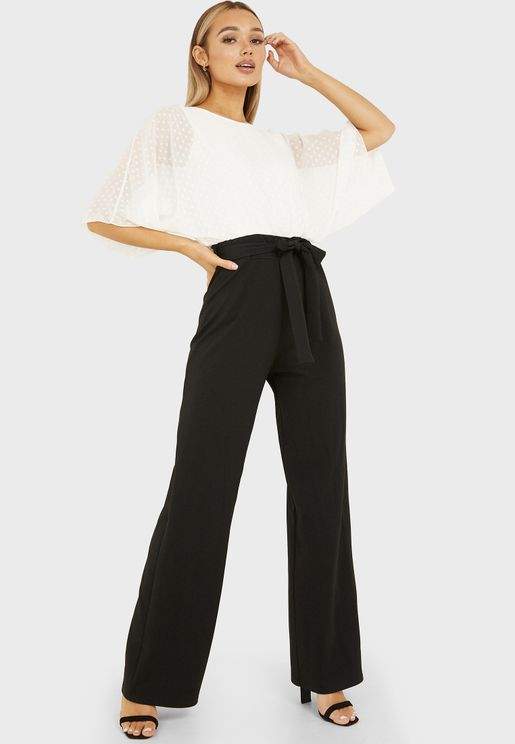 Batwing Dobby Top Wide Leg Jumpsuit