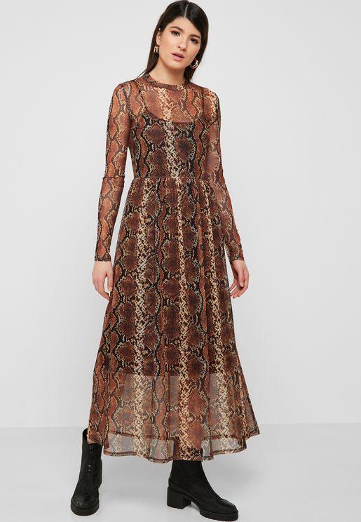 Sheer Detail Printed Dress