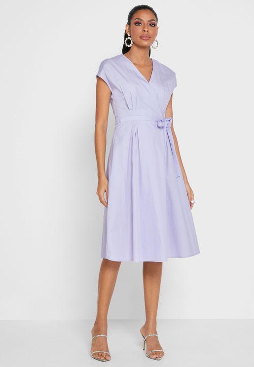 Bow Detail Wrap Dress