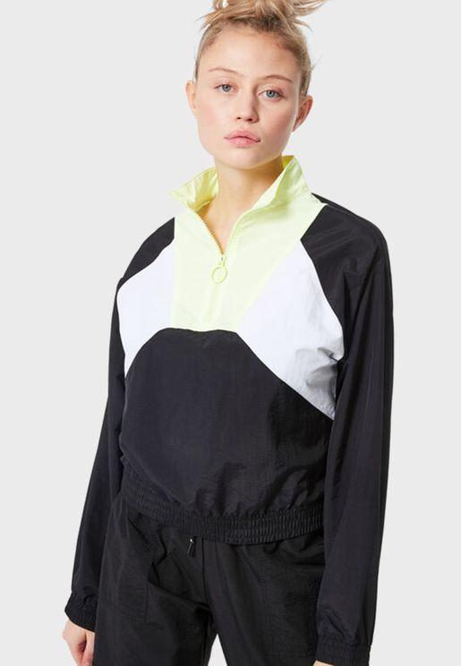 Zip Detail Colorblock Sweatshirt