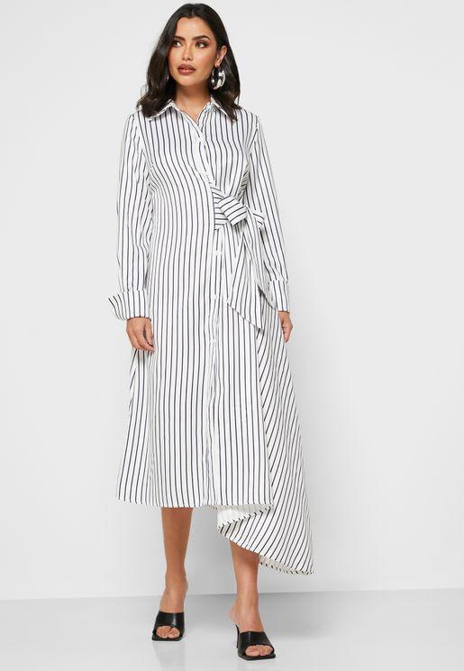 Striped Tie Waist Shirt Midi Dress