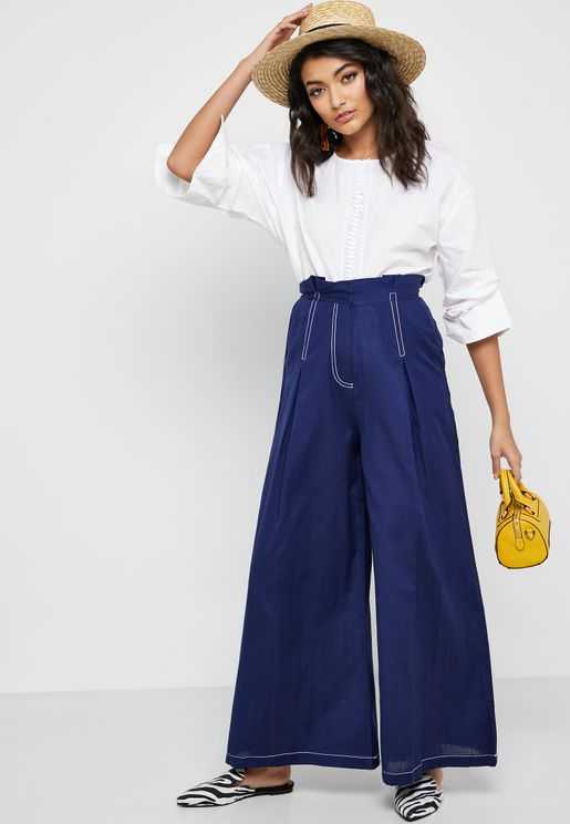 Contrast Detail Wide Leg Pants