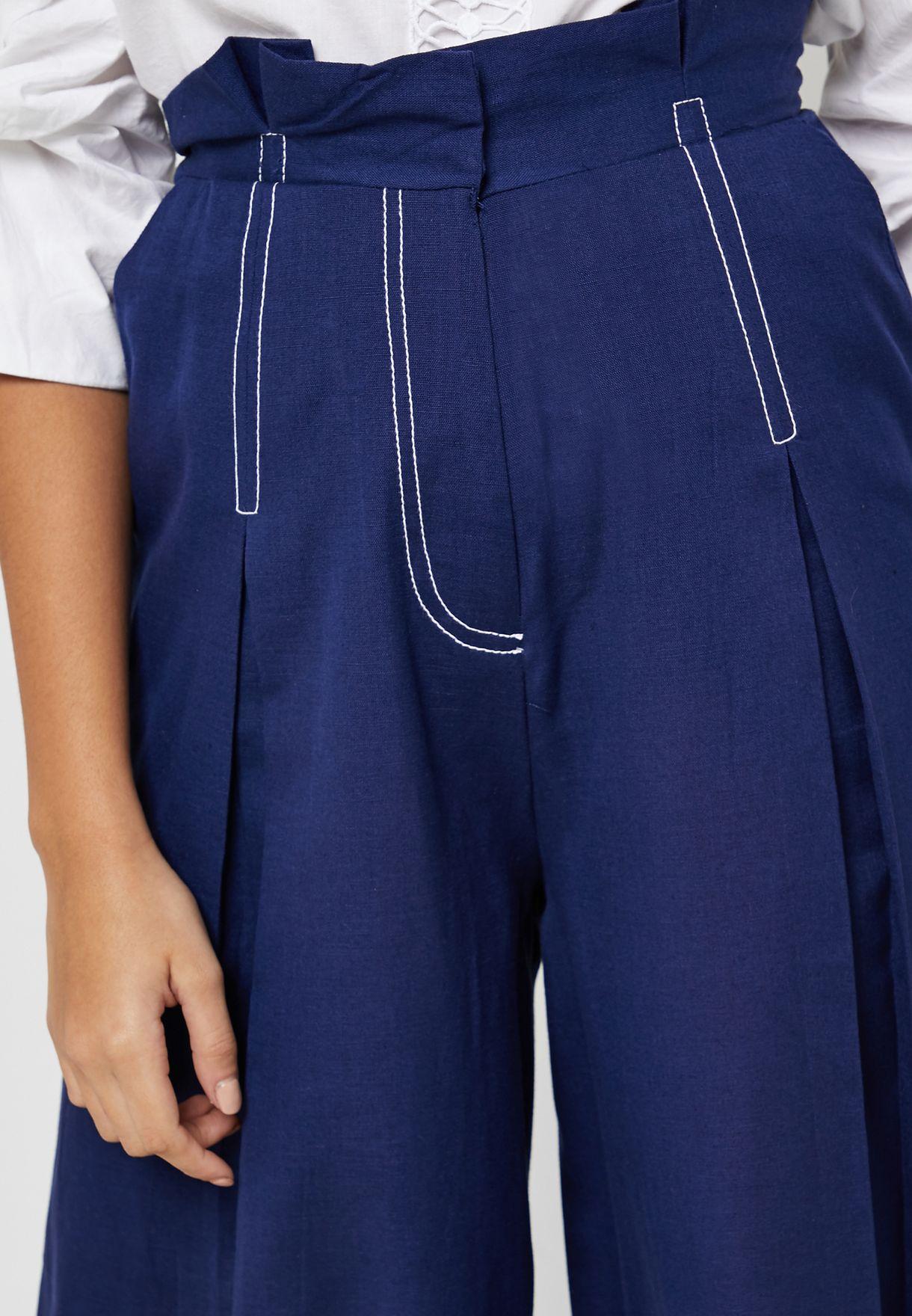 Contrast Detail Wide Leg Pants