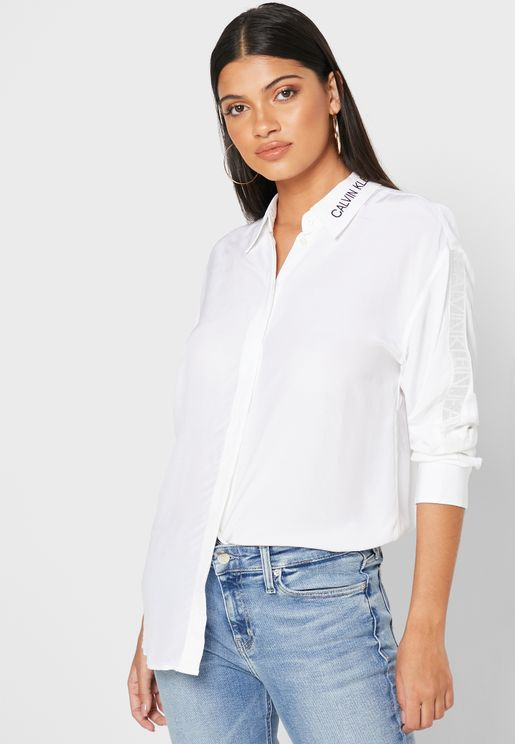 Drape Trim Mesh Tape Shirt