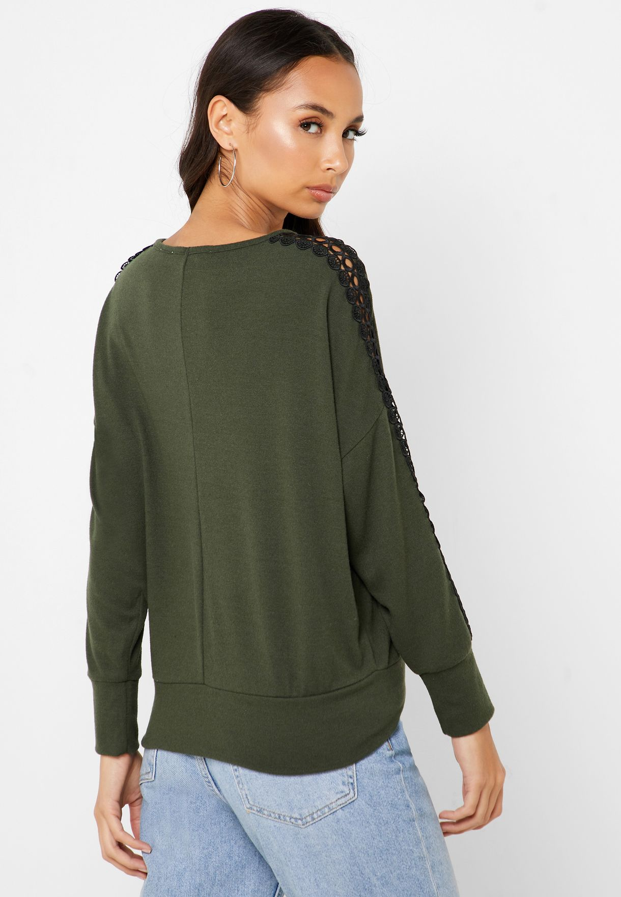 Lace Detail Textured Sweaters
