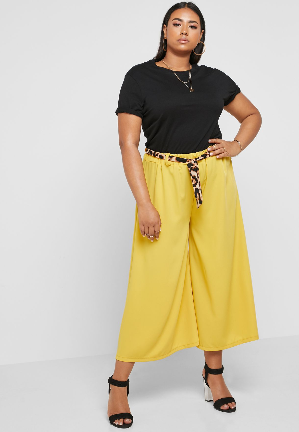b5c5618362 Shop Ginger Plus yellow Leopard Print Self Tie Culottes NP04-9300 ...
