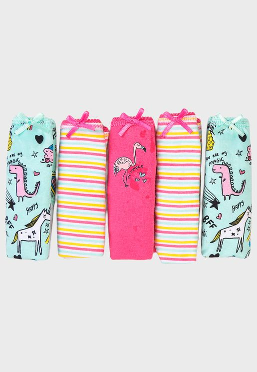 Kids 5 Pack Striped Knickers