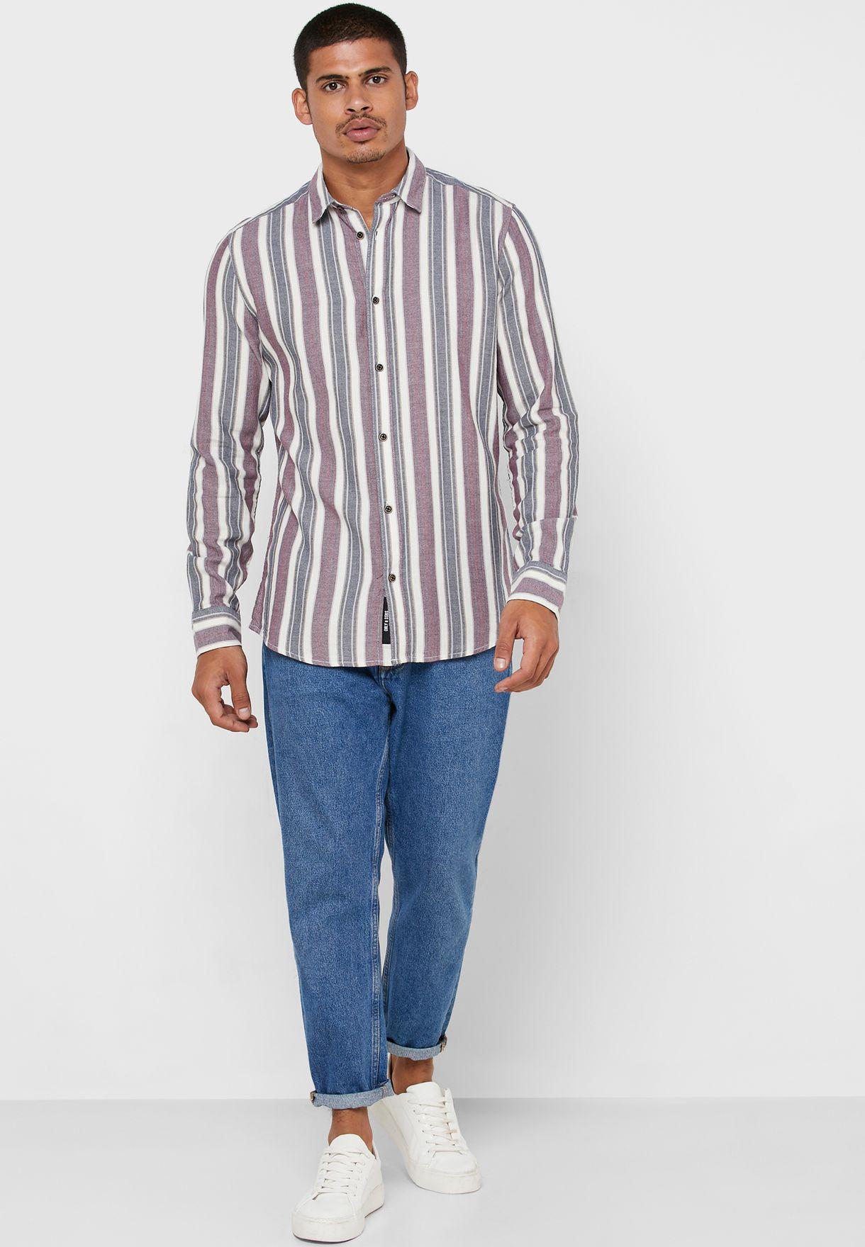 Gustas Striped Herringbone Shirt