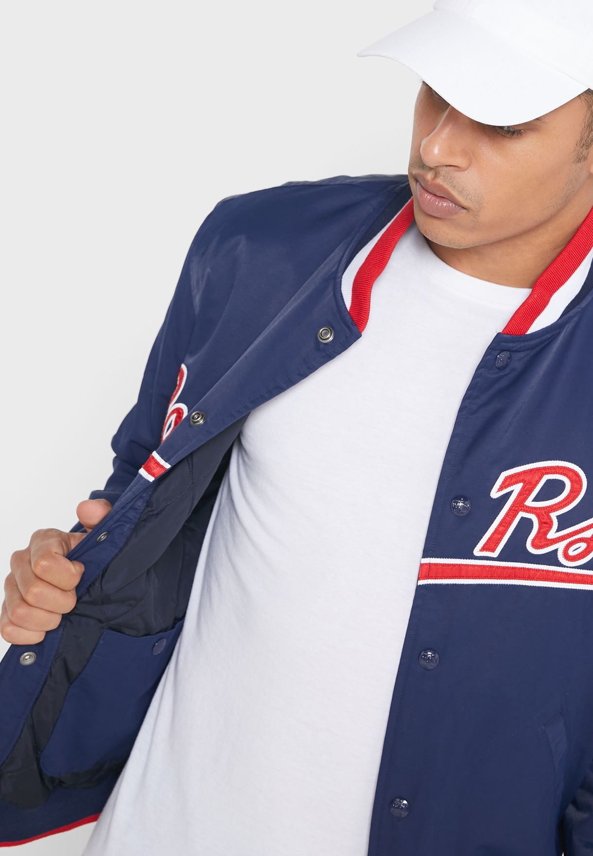 Contrast Edge Baseball Jacket