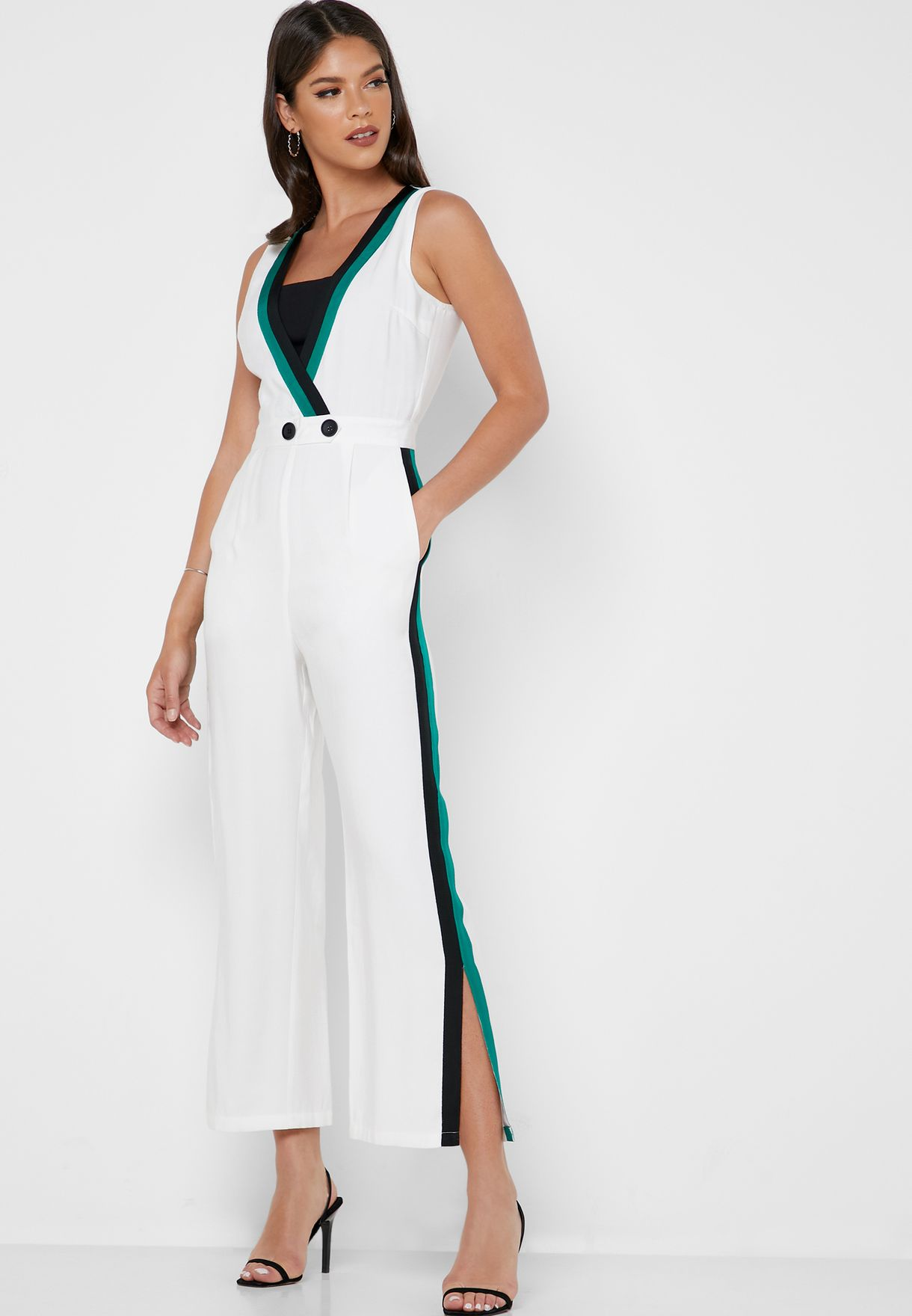 Striped Trim Sleeveless Jumpsuit