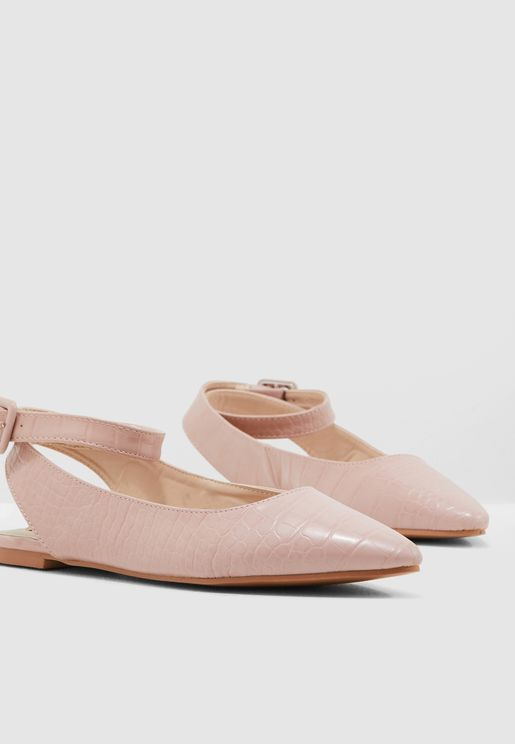 1fc38cb17742 Pointed Toe Ballerinas With Ankle Strap