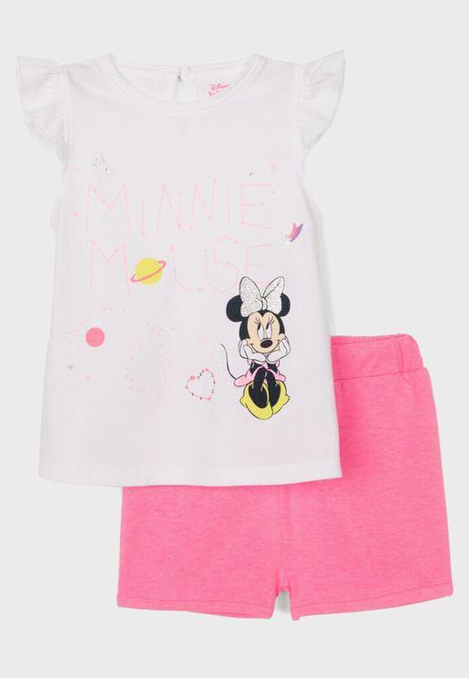 Kids Minnie Mouse Top + Shorts Set