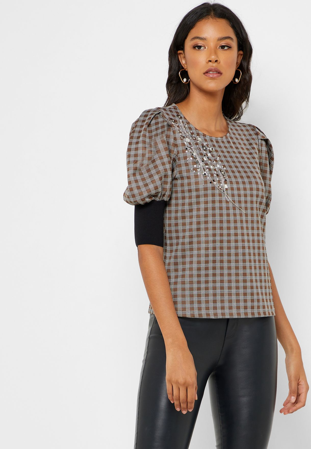 Checked Puff Sleeve Top