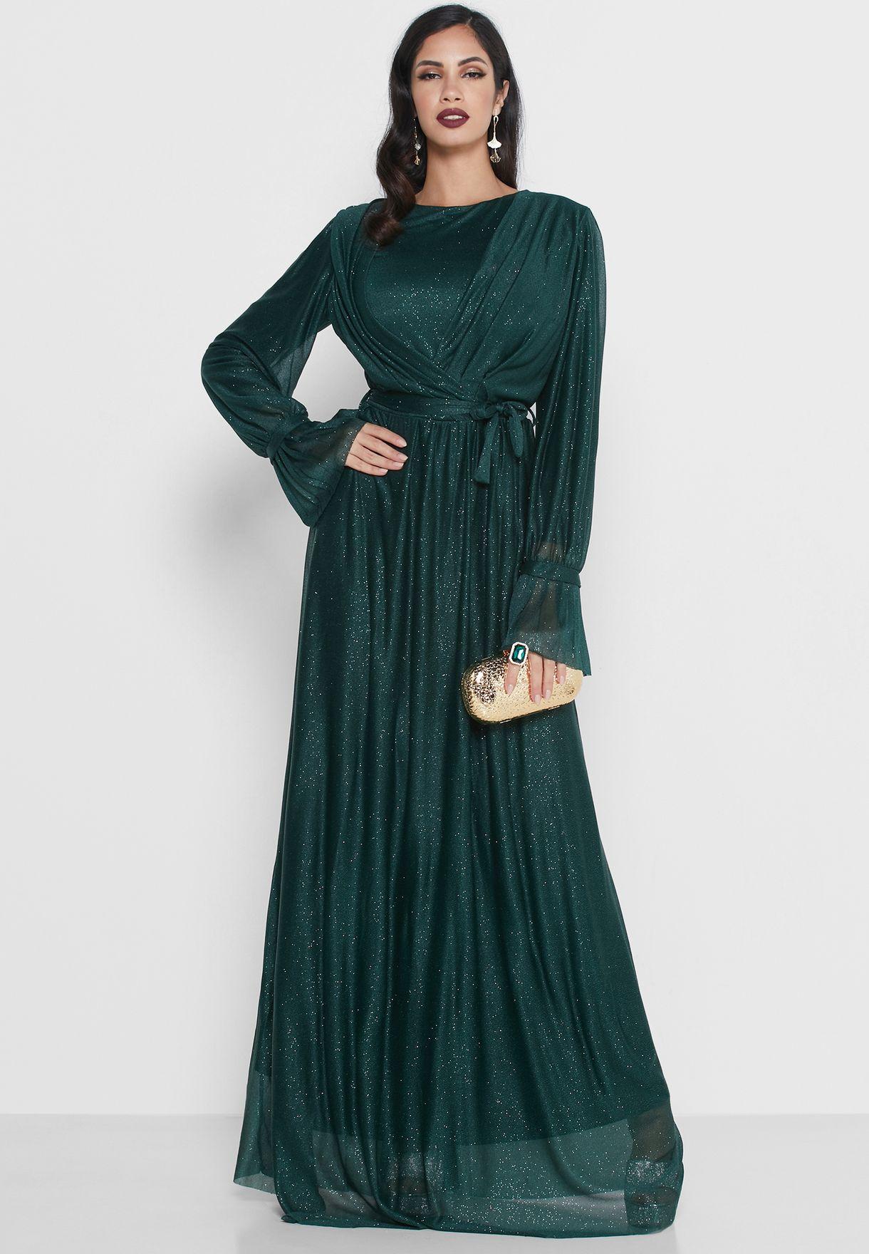 Wrap Front Detail Maxi Dress