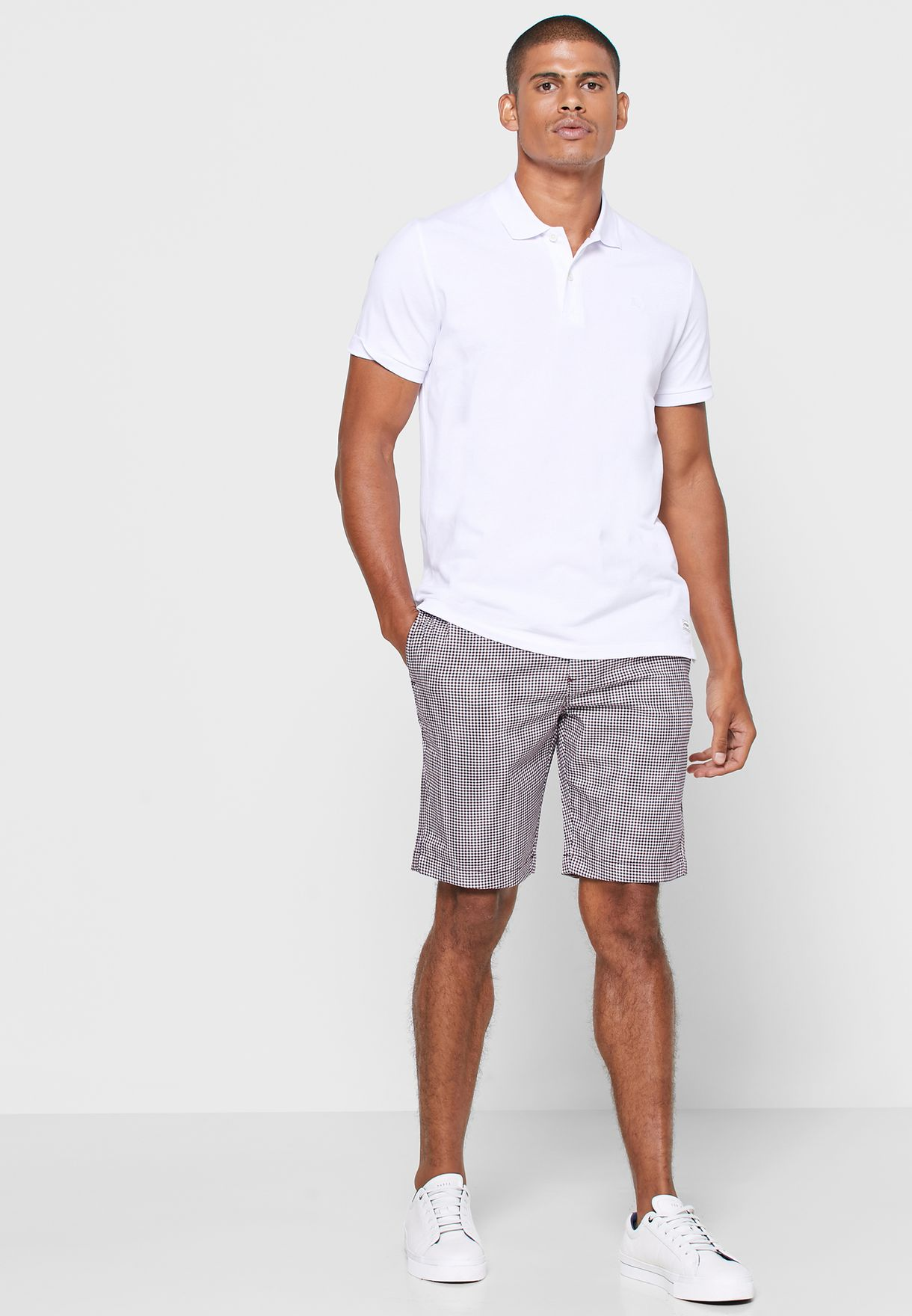 Checked Belted Shorts