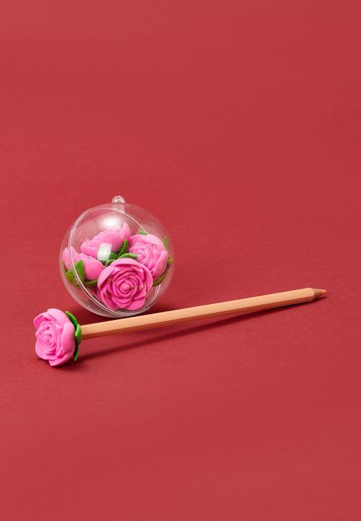 6 Pack Floral Erasers