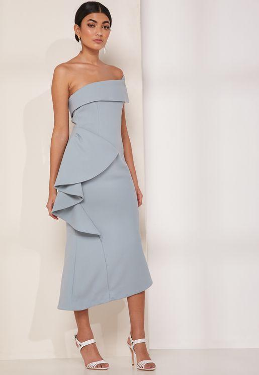 Hydrangea Ruffle Bandeau Dress
