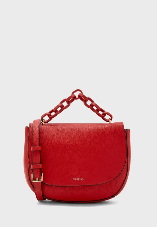 Link Chain Detail Flap Crossbody