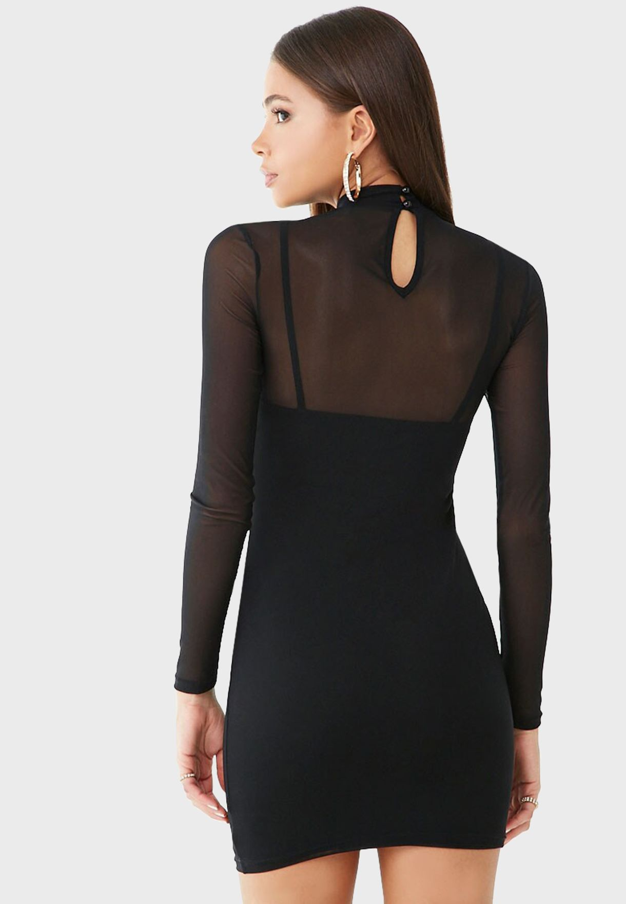 High Neck Mesh Mini Dress