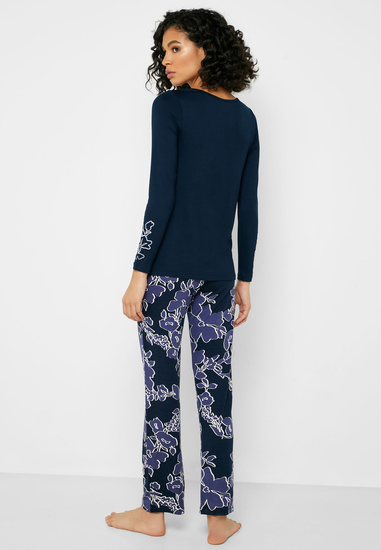 Graphic Cuff T-Shirt & Floral Print Pyjama Set