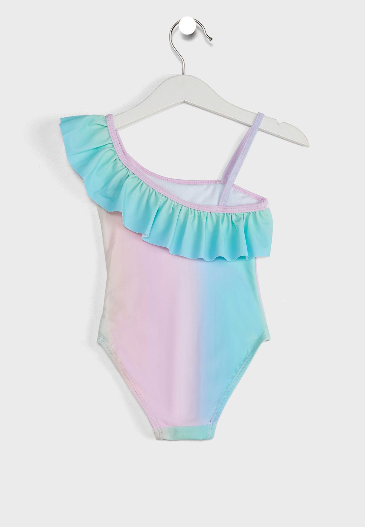 Kids Unicorn Rainbow Ruffle Swimsuit